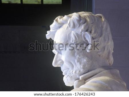 Profile of Abraham Lincoln in Lincoln Memorial Washington D.C. - stock photo