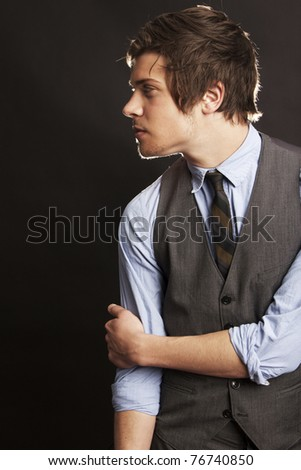 Profile of Attractive Young Businessman - stock photo