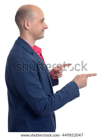 profile of bald man pointing finger. Isolated over white - stock photo