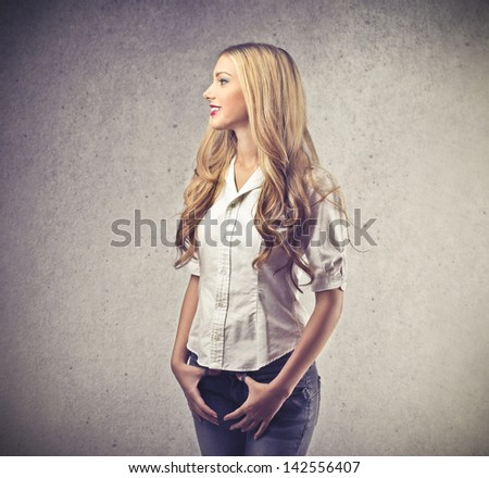 profile of beautiful blonde woman - stock photo