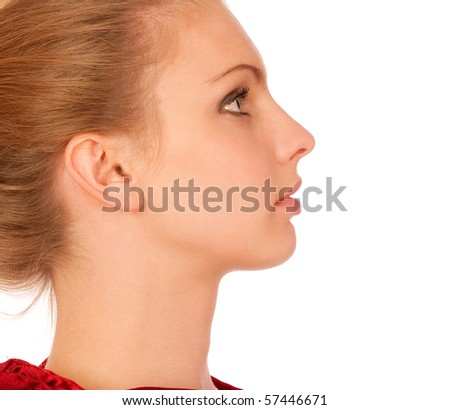 Profile of beautiful young woman, isolated on white background. - stock photo