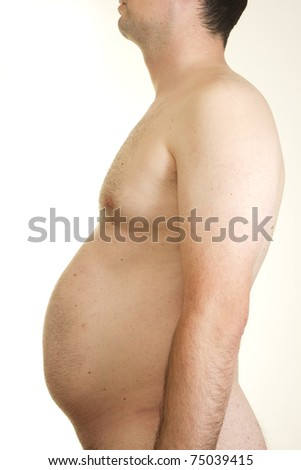 Profile of male torso vith overweighted abdomen - stock photo