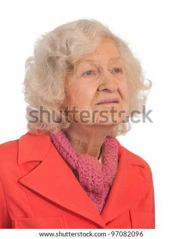 Profile of Senior woman. Shot against a white background - stock photo