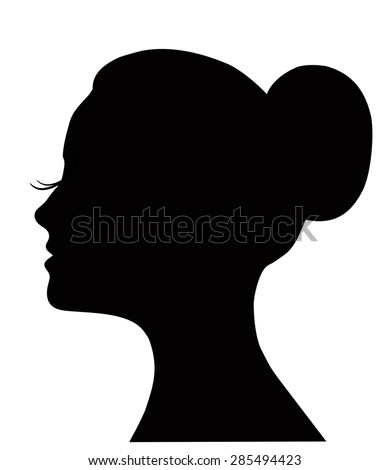 Profile of the beautiful girl, logo design. Woman's face with long lashes and neat bun hairstyle (ballet bun). Hair style, spa, salon, cosmetics icon, woman's face, fashion illustration. - stock photo