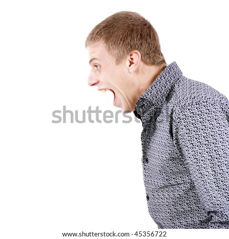 Profile of the young shouting man on white background - stock photo
