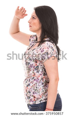 Profile of woman looking  far away isolated on white background - stock photo