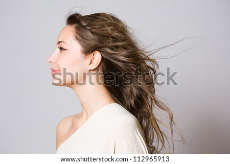 Profile portrait of a brunette beauty with windswept hair. - stock photo