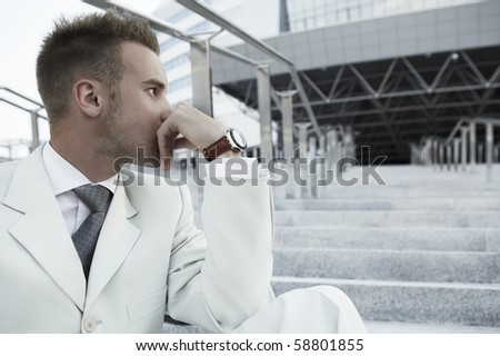 Profile Portrait of an attractive young man - stock photo