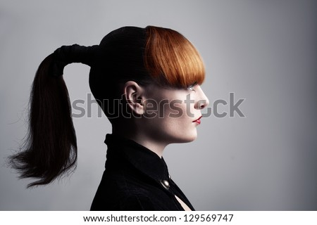 profile portrait picture of a young lady with healthy skin and hair - stock photo