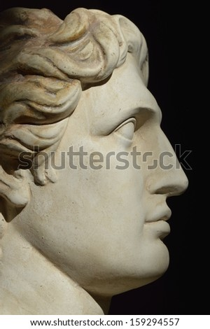 Profile statue of Alexander the great - stock photo