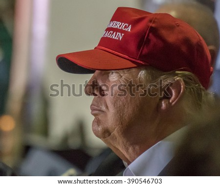 Profile view of Donald J Trump, presidential candidate, at the Boca Raton, FL Rally on March 13th, 2016. - stock photo