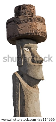 Profile view of Easter Island Monolith. With white background and clipping mask. - stock photo