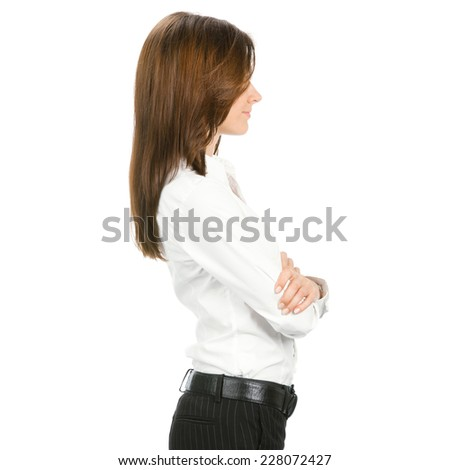 Profile view of young business woman, over white background - stock photo