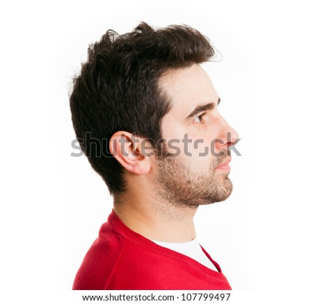 Profile view of young man in red shirt, isolated on white - stock photo