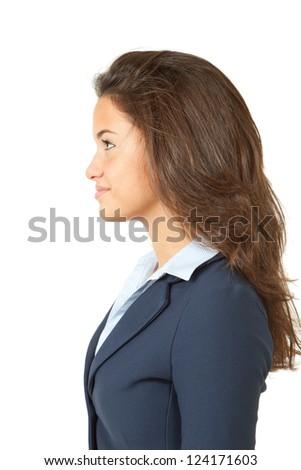 profile young model, long hair, beauty girl - stock photo