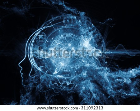 Profiles of Destiny series. Composition of astrology symbols, human profile lines, circles and design elements on the subject of astrology,magic, witchcraft and fortune telling - stock photo