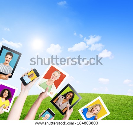 Profiles of Multi-Ethnic People in Electronic Devices - stock photo