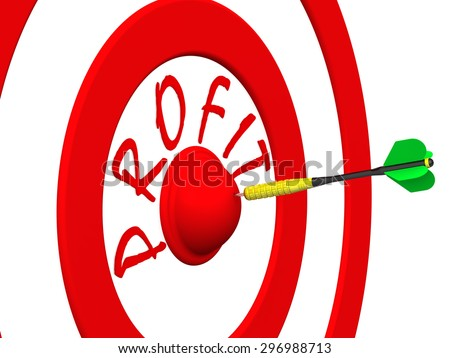 Profit. A dart at the target center. Target with the word PROFIT and dart in the center. Hit the bull's eye. The concept of financial success - stock photo