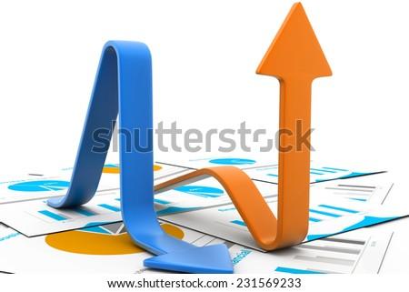 profit and loss graph - stock photo