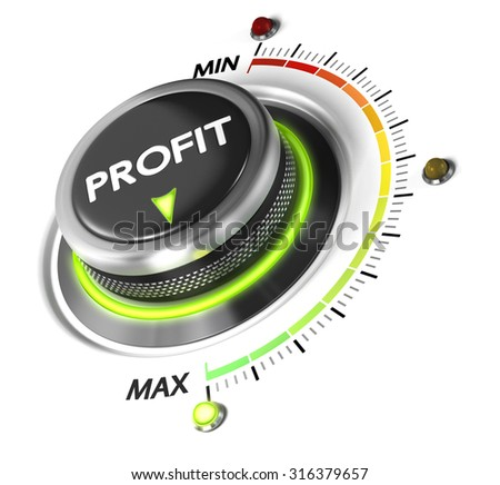 Profit button positioned on maximum, white background and green light. Finance concept illustration of profitability. - stock photo