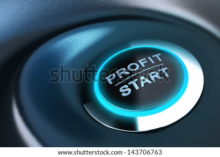 Profit button with blue light. 3D render over blue and black background suitable for capital management solution concept. - stock photo