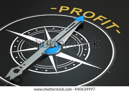 Profit compass concept, 3D rendering - stock photo