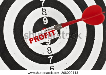 Profit Concept and a dart in center of target - stock photo