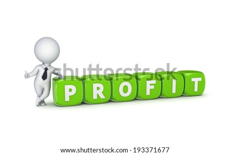 Profit concept.Isolated on white.3d rendered. - stock photo