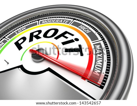 profit conceptual meter, isolated on white background - stock photo