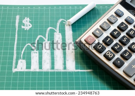 Profit Graph on board and calculator - stock photo