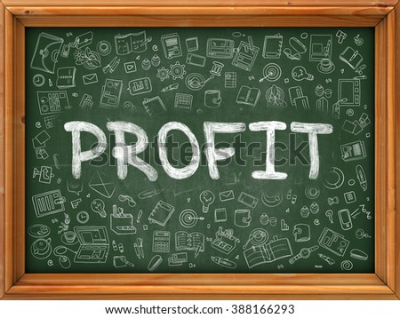 Profit - Handwritten Inscription by Chalk on Green Chalkboard with Doodle Icons Around. Modern Style with Doodle Design Icons. Profit on Background of Green Chalkboard with Wood Border. - stock photo