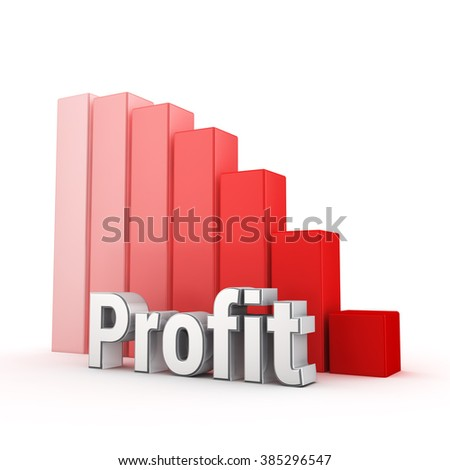 Profit has been steadily declining. Word Profit against the red falling graph. 3D illustration picture - stock photo
