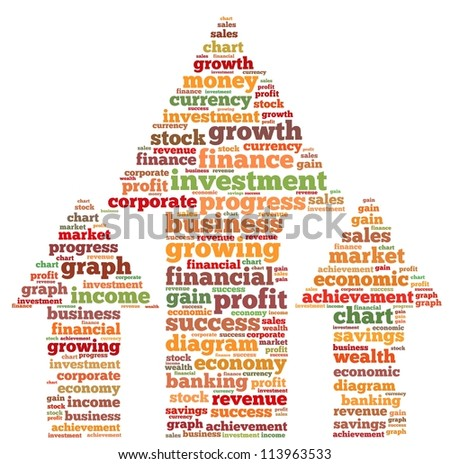 Profit info-text graphics and arrangement concept on white background (word cloud) - stock photo