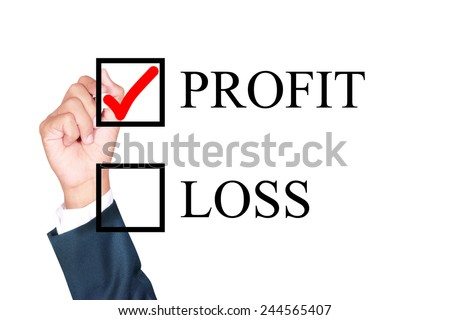 profit is answer choose by businessman tick choice whiteboard white background - stock photo