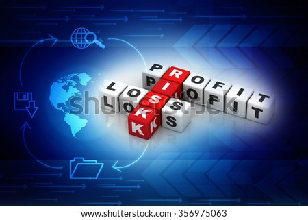 profit, loss and risk ( red-white crossword series) - stock photo
