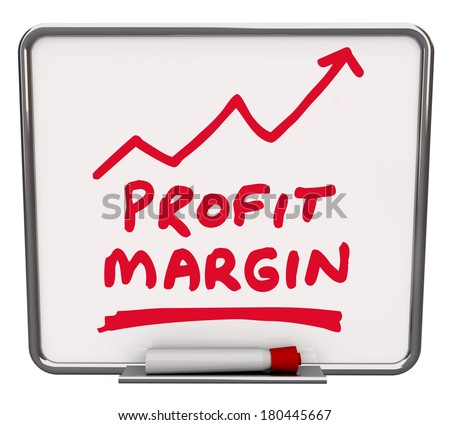 Profit Margin Words Dry Erase Board Increase Earnings - stock photo