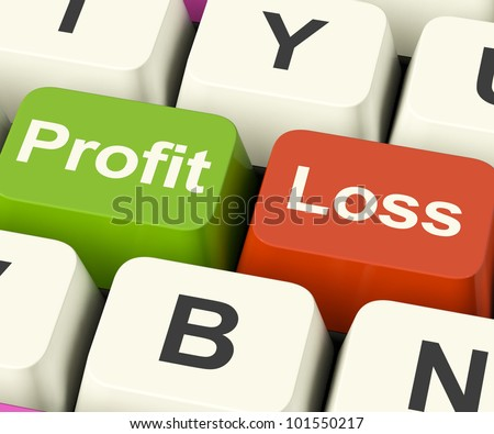 Profit Or Loss Keys Showing Returns For Internet Businesses - stock photo