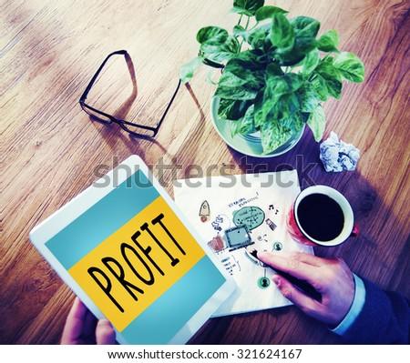 Profit Revenue Budget Finance Income Sales Money Concept - stock photo