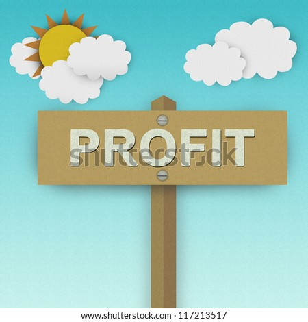 Profit Road Sign For Business Solution Concept Made From Recycle Paper With Beautiful Sun and White Cloud in Blue Sky Background - stock photo