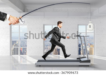 Profit-seeking concept with businessman running on a treadmill for a bag of money hanging on a fishing tackle - stock photo