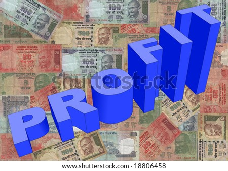 Profit text graph on Indian Rupees illustration - stock photo