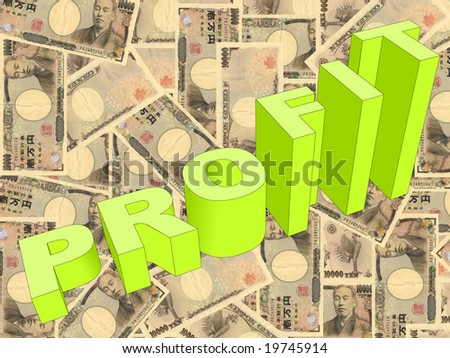 Profit text graph on Japanese Yen illustration - stock photo