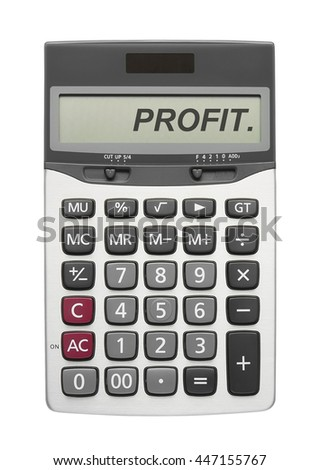 Profit text on silver calculator display in white background for your business concept or pattern, isolated included clipping path - stock photo