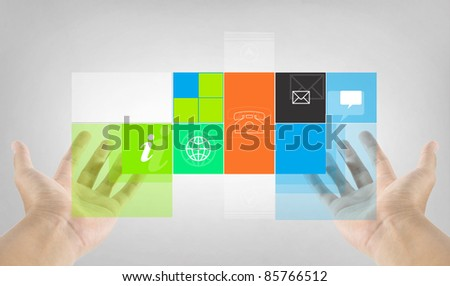 program application on hand - stock photo