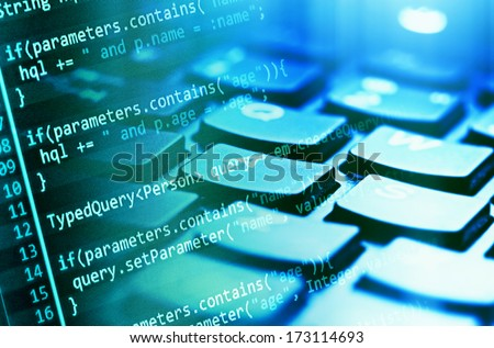 Program code and computer keyboard  - stock photo