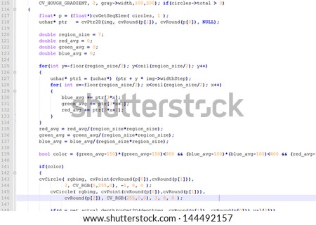 Program code on a white background - stock photo