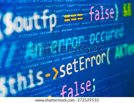 "Program code - selective focus on ""set error"" words - stock photo"