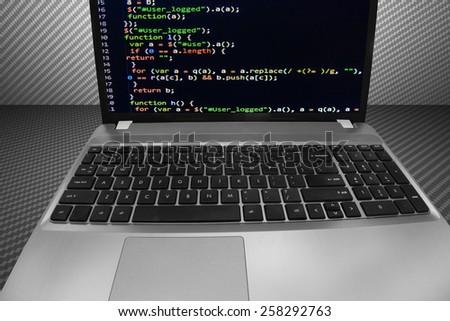 Program script developer source code display on computer laptop monitor screen. Digital technology background. Programming code abstract screen of software developer. Computer script, function. - stock photo