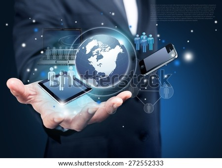 Program. Technology in the hands of businessmen - stock photo