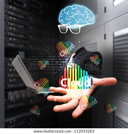 Programmer and Cloud computing service - stock photo